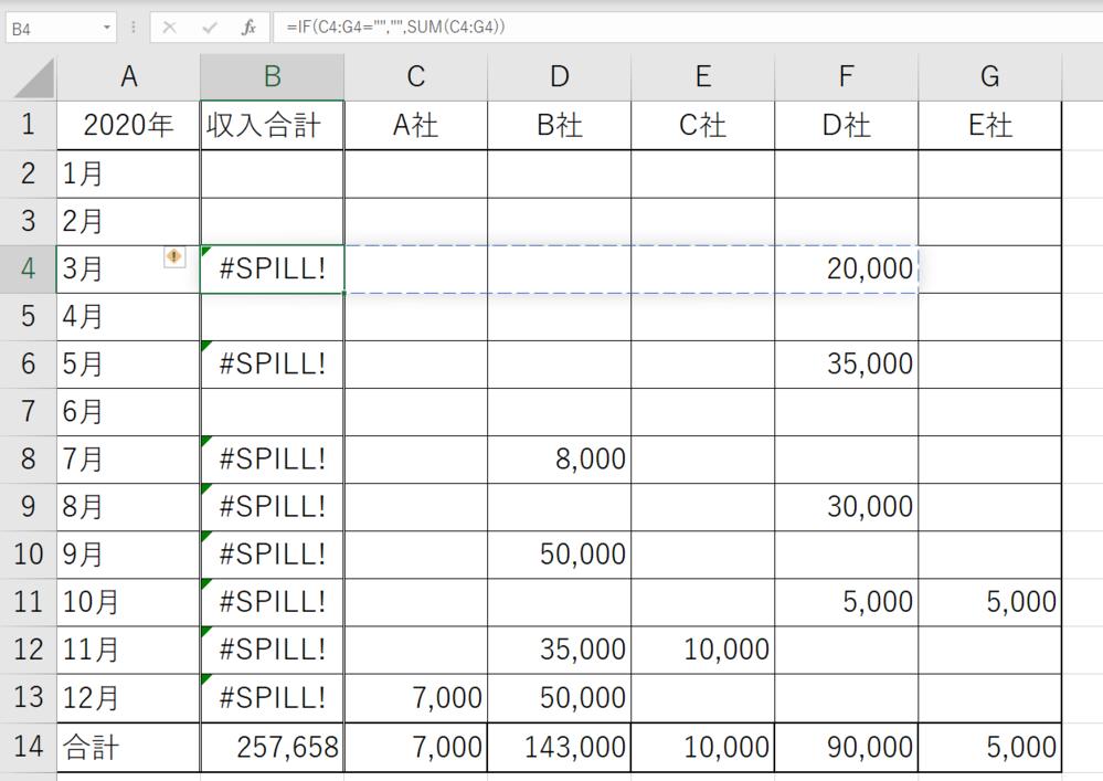 """Excelにて IF関数とSUM関数を使って、給料一覧を作ってみたのですが、SPILL!と表示され上手くできませんでした。 組み方を間違えたのでしょうか? 因みに、数式バーに表示されている数式が、SPILL!と表示されているものです。 B2について C2からG2が空欄のため、空欄が表示されている。 B4について 「もしC4からG4までに数がなければ空欄を表示し、あればB4に合計を求める」 という式を打とうとしています。 =IF(C4:G4="""""""","""""""",SUM(C4:G4)) どこを直せば正しく表記されるか、教えていただきたいです。"""