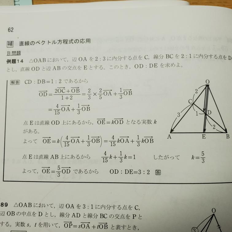 「点Eは直線AB上にあるから、」で、 なぜOAベクトルとOBベクトルを消して=1の等式になるのですか?