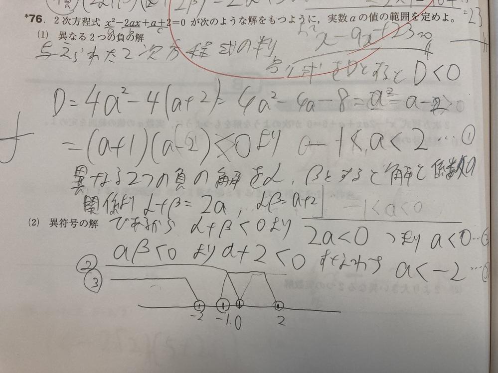 高2数学 76の(1)(2)についてです。 (1)は答えにたどり着くことができませんでした。どこで間違ったのでしょうか? (2)は分かりません。どう求めればいいですか?