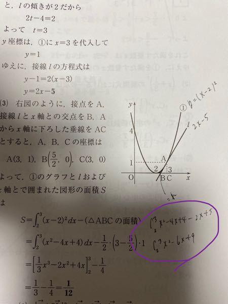 この面積を求める問題はなぜ紫の丸の計算方法で解けないのでしょうか、、?