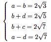 この連立方程式の解き方を教えてください。 (4元で4つの式の解きかた+ルートの解き方を教えてください。)