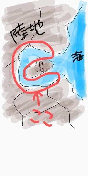 雑な絵ですみません。海と繋がっている、この赤い丸で囲ってある場所のことをなんというのでしょうか? 陸地があって、それに囲まれている島があった場合、島の周りにある水は、川扱いなのか海扱いなのかよく分かりません。