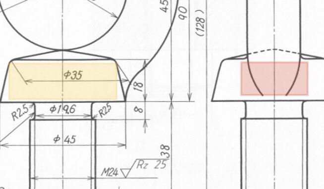 アイボルトの製図について質問です。 まず、写真の赤く示した部分について、この描き方はアリなのでしょうか? この赤く示した部分が、JIS規格の便覧にある図と全く異なっているのです。 旧規格の描き方なのでしょうか? また、黄色で示した部分の寸法線もJIS規格の便覧と異なっているようです。 ご希望であれば、便覧に載っている図の写真を返信の方で添付させて頂きます。