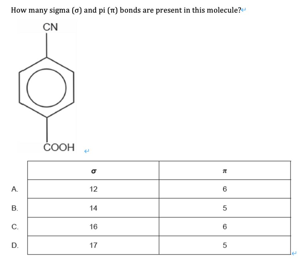 この問題の解説をお願いします。 この分子にはいくつシグマ結合とパイ結合が含まれているかという問題で、答えはCでした。 高校化学