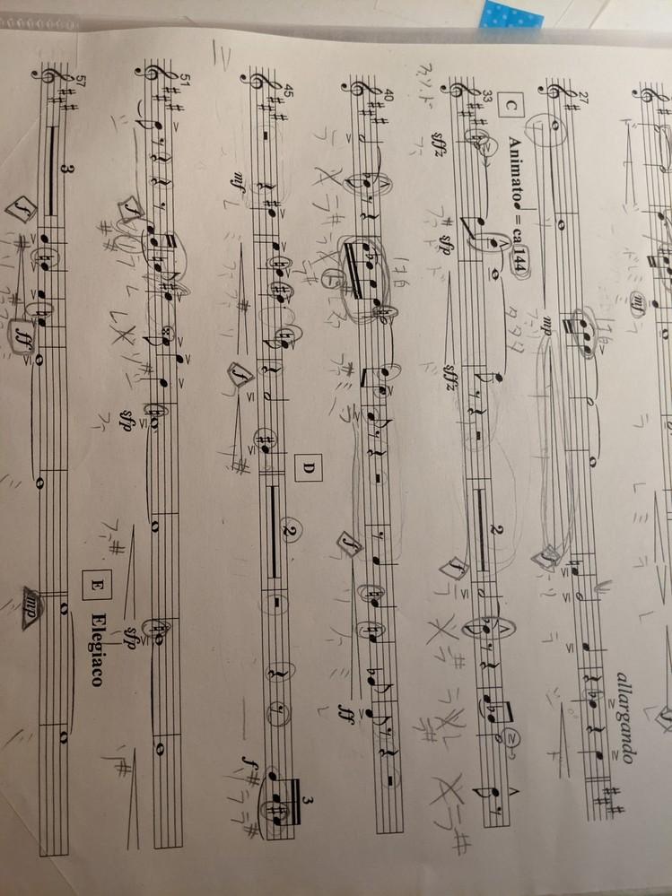 吹奏楽部のコンクールで吹く「眩い星座になるために」のバリトンサックスでCの3,4,5小節目と10,11小節目と12,13小節目とDの1,2, 3小節目と4小節目の休符の数え方が分かりません…どなたかわかる人いたら教えて下さると嬉しいです。説明が下手で分かりにくくてすみません…あと画像変で汚くてすみません… 長文失礼しました。