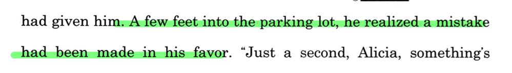副詞句について質問です。 この英文はA few feet into the parking lotが、副詞節となっていると思うのですが、なぜこのような構造を取れるのでしょうか?これは名詞句ですよね? 接続詞と動詞が省略でもされているのでしょうか? 意味がわかりません。