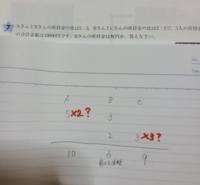倍数算の問題教えて下さい。 Bさんの3と2の最小公倍数6にしました。  Aさんに×2 Bさんに×3をかけるのかわかりません。