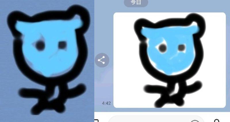 LINEスタンプに詳しい方に回答をお願い致します。 LINE CREATORS STUDIOを使ってスタンプを作成し シミュレータ上で表示させると左の画像のように背景は透過になります。 同じスタンプをLINEアプリで表示させると右の画像のように背景が白くなっています。 シミュレータのように背景を透過させたいのですがどのようにすればよいのでしょうか? ご回答をお願い致します。