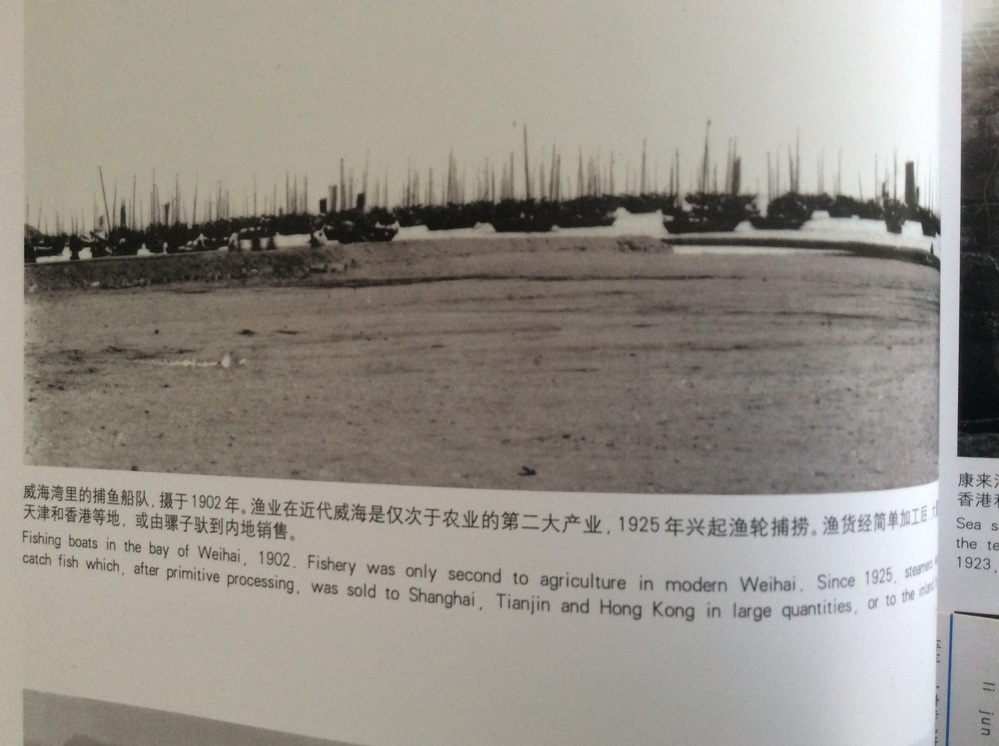 Fishing boats in the bay of Weihai, 1902. Fishery was only second to agriculture in modern Weihai. Since 1925, steamers were used to catch fish which, after primitive processing, was sold to Shanghai, Tianjin and Hong Kong in large quantities, or to the inland by mule. この文章を日本語で翻訳して欲しいです、宜しくお願いします。