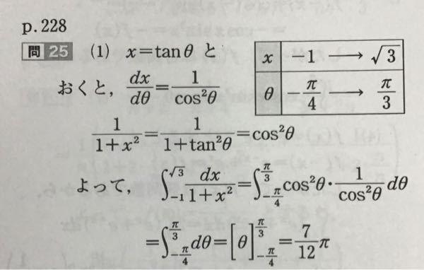 【定積分】 ∫[-1→√3]dx/1+x^2 の定積分を求めよ。 という問題の解説が写真のようになるのですが、私はθの範囲[3/4π→π/3]とし、計算する際に∫の前にマイナスをつけて下端と上端をひっくり返して計算しました。 この場合でも答えは一緒になりますか?