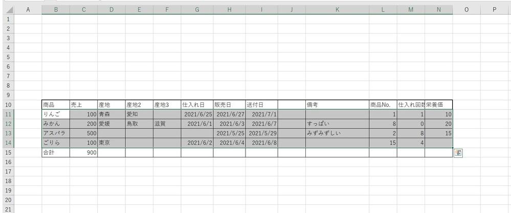 """マクロの質問です。 下記の範囲をコピーするマクロを作成したいです。 【指定したい範囲】 ・B11から N列までコピーしたいが最終行が可変。 ・行数はB列最終行の1つ上の行まで。 ※添付ファイルでいうとB11:N14がコピーしたい範囲です。 【条件】 ・開始位置はB11で固定 ・B列の行数は当月の売買内容により変化する (40行~60行程度) ・B列の最終行の1つ上の行まで選択したい ・B列以外はデータが一部入っていない場合があるため、 B列を基準に行数を求めたい。 初心者の為、マクロの記録を使いつつ、 下記でB列の1行上まで指定できることはわかりましたが、 これをN列まで広げる方法がわかりません。 Range(""""B11"""").Select Range(Selection, Selection.End(xlDown).Offset(-1)).Select 恐縮ですが詳しい方にお力をお借りできればと思います。 宜しくお願い致します。"""