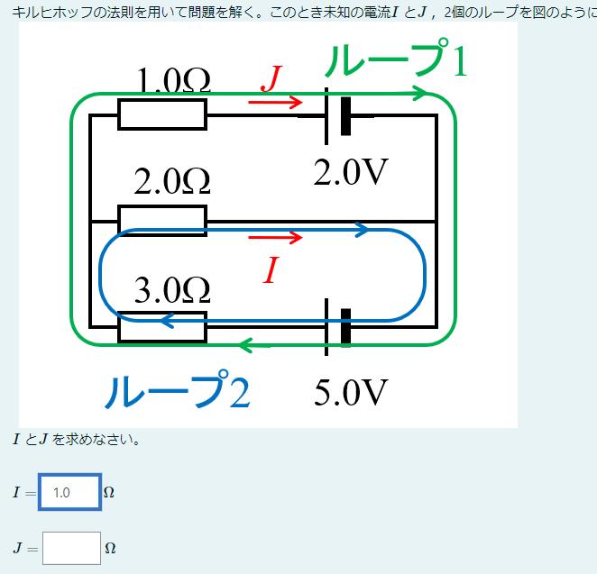 キルヒホッフの法則を用いた問題なのですが、Jの値がわかりません。 求め方含め教えてほしいです