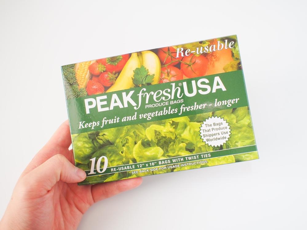 野菜を新鮮なまま長期保存できる袋です。 PEAK fresh USA (Vegetable Bag) いつもネット「iHerb」から購入していますが、 東京都内で購入できる店舗をご存知でしたら、 教