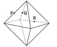公務員試験 判断推理問題です  正八面体を3点P,Q,Rを通る平面で切断した時の断面の形状として正しいのは、どれか。最も当てはまるものを選びなさい。ただしP,Q,Rはおのおのの辺の中点とする。 1.正三角形 2.正方形 3.等脚台形 4.正五角形 5.正六角形  解説と答えをお願いします(TT)