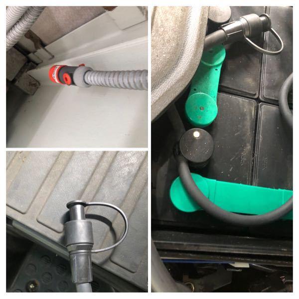 電動フォークリフトのバッテリーの保水方法がわからないので質問です。 タンクについている写真(左上)のホースをリフトの写真(左下)にくっつけて保水するのはなんとなく分かるのですが、その二つがくっつ...