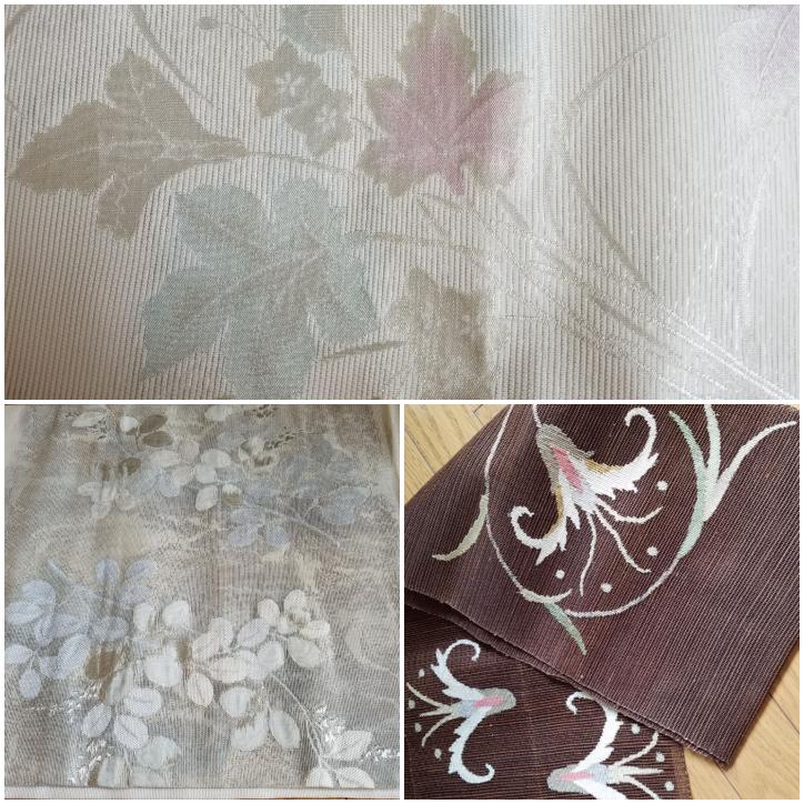 銀の刺繍がある帯は小紋には向きませんか。 袋帯を知り合いから頂きました。 それぞれ夏物の帯だと思うのですが、私が持っている夏物の着物は紫色で絽の飛び柄の小紋しかありません。 明らかに豪華な帯ではないので、小紋に合わせてもいいのではと思うのですが、どうでしょうか。 画像の上の帯は、全ての模様に控えめな銀色の刺繍がされています。 模様は表側の全面に施されています。 左下の帯は葉と花びらの一部に銀の刺繍がされています。 模様がある部分とない部分があります。 右下の帯はカジュアル向けだとは思うのですが、絽の着物に合わせてもおかしくないでしょうか。