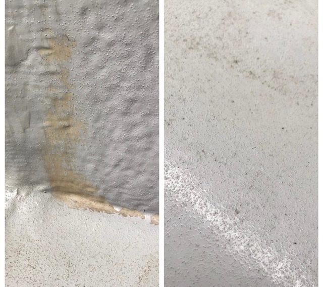 3年前に施工したベランダの防水です。 1枚目、立ち上がり部分や床との境目の塗り残しの部分はやり直してもらうように言うつもりですが2枚目の床の状態は塗装が薄いような気がします。これで防水できているのでしょうか。 いい加減な業者に頼んでしまったこと後悔しています。どこまでやり直してもらえるのか、また今更返金などの申し出はできるのでしょうか。