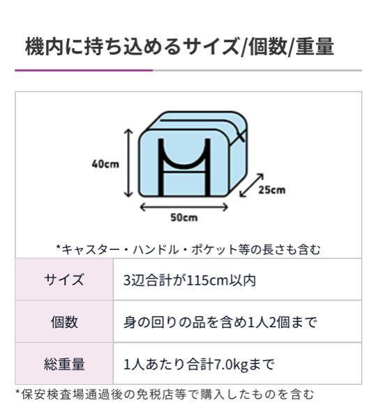 peachの手荷物についての質問です。 55×35×25のリュックを持ち込みたいのですが、機内持ち込み可能でしょうか。 ちなみに、公式サイトには画像のような記述があります。 画像はただの一例?3辺合計サイズはギリギリでもOK?