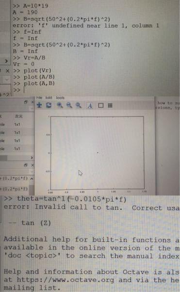 【至急お願いしたいです。】 octaveの関数のグラフの書き方についてです。 今、fを0から無限大に大きくしていく過程で、 Vが、ゼロに収束すると言うことはわかっているのですが、 実際に式に表して、plot()を使用しても写真のように なってしまい、ゼロに収束するグラフが描けません。 このような場合、どういうプログラムを組めば 式を表すグラフを描くことができるのでしょうか、 また、同様にfを無限大に大きくしたときに、 θの値の変化もグラフにしたいです。 プログラムを教えていただきたいです。