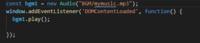 javascript初心者です。  ヤマダ電機ウェブコムにてヤマダ電機のBGMが流れる拡張機能を作っているのですが、エラーが出ていないのにもかかわらず、音が流れません。 写真のコードのおかしな点を指摘してもらえると嬉しいです。