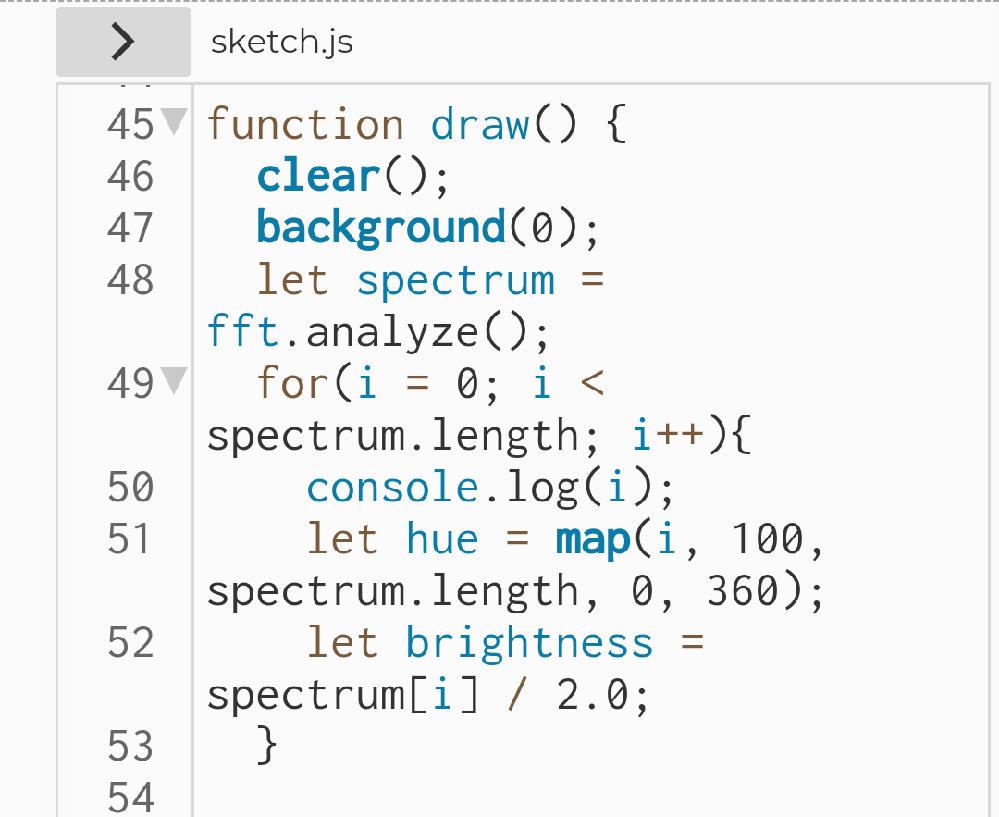 急ぎ。 開発環境:p5js Micから取得した音声をFFTで分析し、周波数のピークを取り出してHueに指定したいのですが、どのようにコードを記述すべきかわかりません。調べて記載できたのは画像の内...