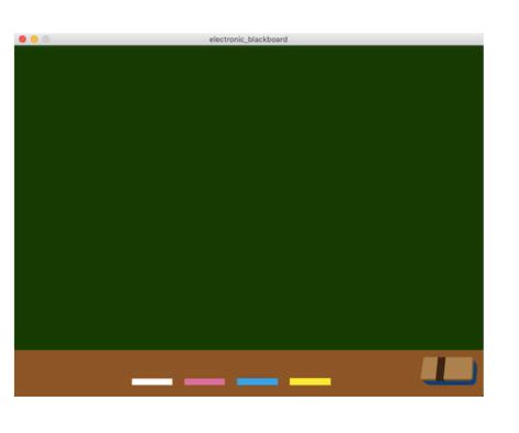 processing processingで下のような画像を作りたいのですがどのようにすればよいでしょうか。 下のサンプルコードは黒板を作ったとこまでです。色のとこを一番下に並べるとこも知りたい...