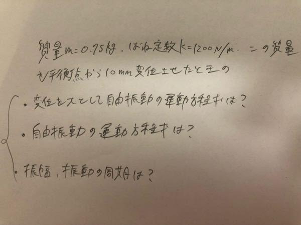 物理の振動について教えてください。 プリントの問題集なのですが答えがなく解法すら全くわからない初学者です。