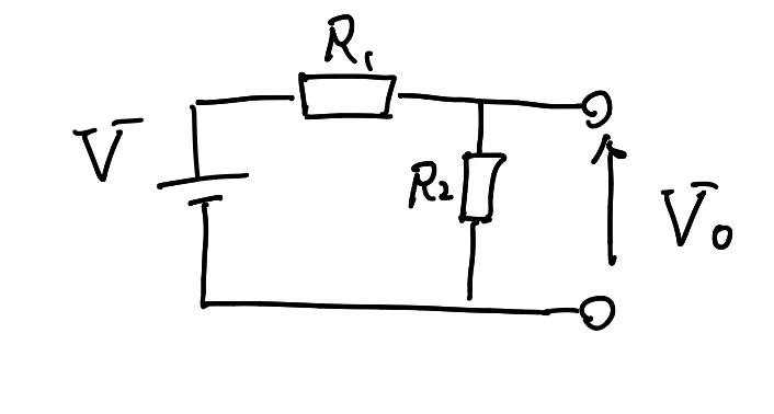以下の回路の時の電位差V0はどのようになるか教えてください。