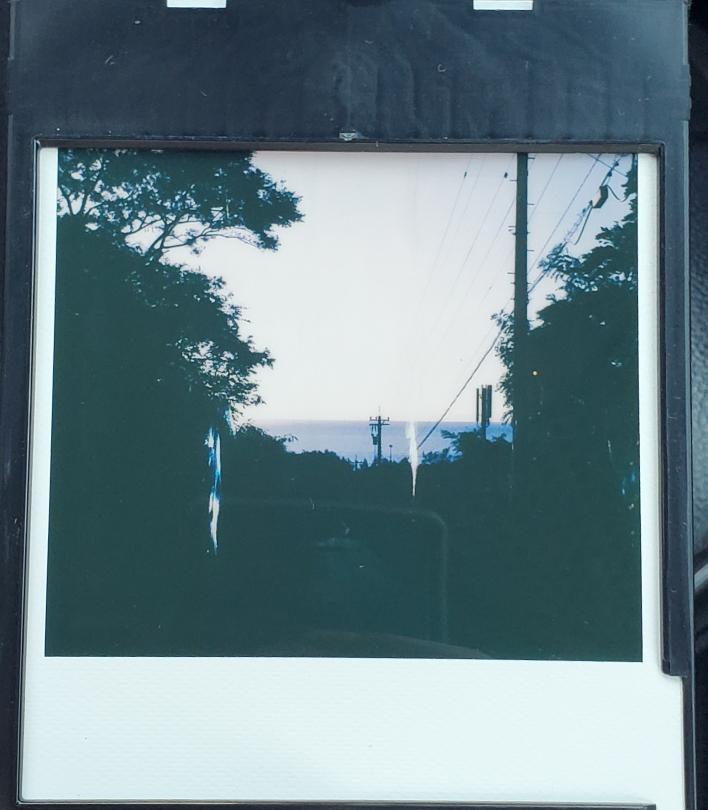 ポラロイド写真について 先日ポラロイドカメラsx70を購入しました。 何枚か撮ってて高確率で写真に縦縞が入ってしまいます、カメラの不調かフィルムの不調か、原因を知りたいです、回答お願いいたします