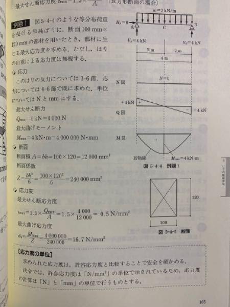 例題1で、最大曲げモーメントをN・cmに換算すると4+10の5乗になります。 最大曲げ応力度は750N/cm2乗となるそうなのですが、家庭がわかりません。教えてください。