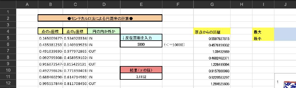 VBAについて質問です。 画像の原点からの距離の最大値、最小値をそれぞれの欄に関数を使用せず表示させたいです。 貰ったヒントには、「最初の値を仮の最小値の変数にコピーしておく。それに対し2個目から最終まで比較を繰り返し、仮の最小値よりも小さな値が見つかったら仮の最小値の変数に上書きする。」と書いてあります。 詳しい方、是非教えていただきたいです。