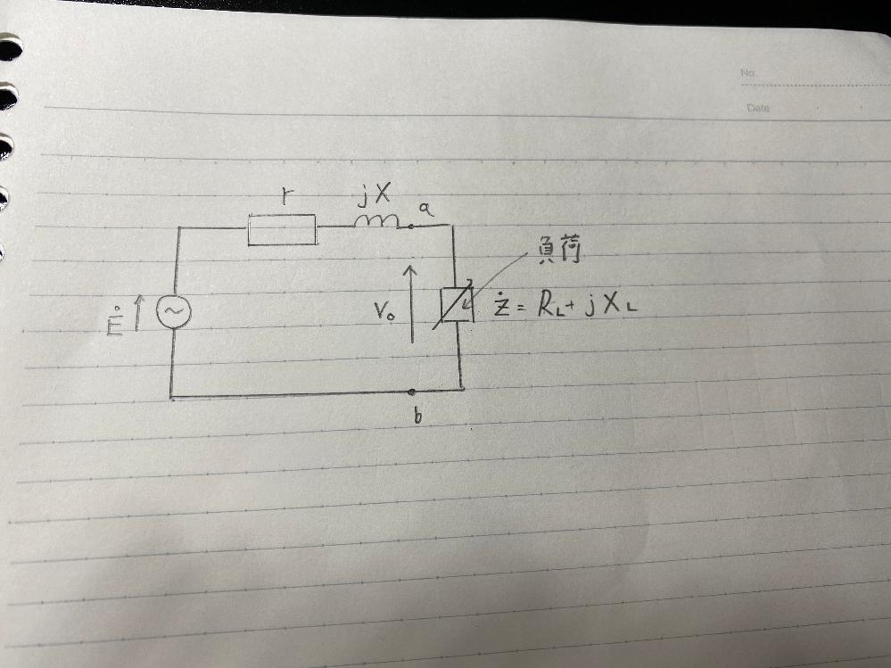 電気回路の問題です。 以下の回路の負荷で消化される最大電力はいくらですか?またそのとき負荷に加わる電圧V_0はいくらですか? R_LとX_Lは可変です。