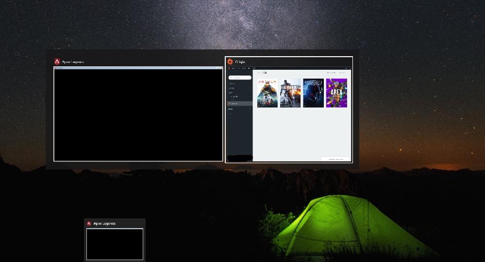 PC版(origin)APEXを起動させた時に、デスクトップのタスクバーのプレビューで、以前はゲーム画面が表示されていました。 最近になってゲーム画面のプレビューが表示されず、ウインドウと黒い画...