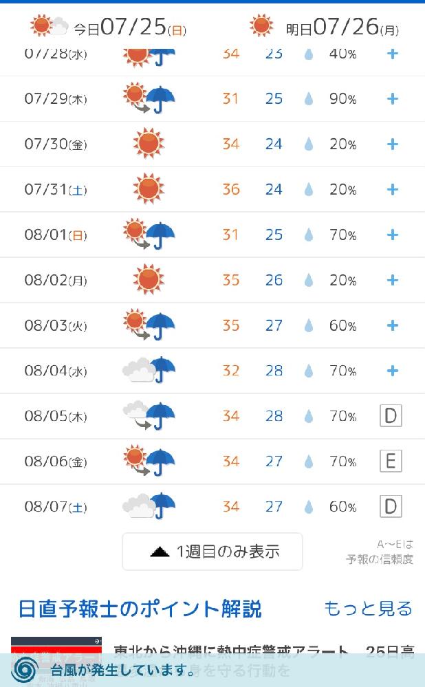 8月3日以降、雨予報なのですが これが晴れになる可能性ってあるでしょうか? 天気悪いのは変わらないでしょうか?