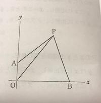 一次関数について 図で、Oは原点、A、Bはそれぞれy軸上、x軸上の点、Pは点Aを通る傾きが5/6の 直線上の点で、△POBの面積は△POAの面積の4倍である。点A、Bの座標がそれぞれ(0,3),(9,0)のとき、点Pの座標を求めよ。ただし、点Pのx座標は 正の数とする。  この問題の解き方を教えてください。よろしくお願いします。