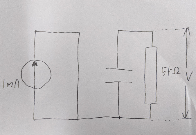 下図のように回路を設定しました。 コンデンサが充電し終わるまでの、図中Vは、5(v)であっていますか?