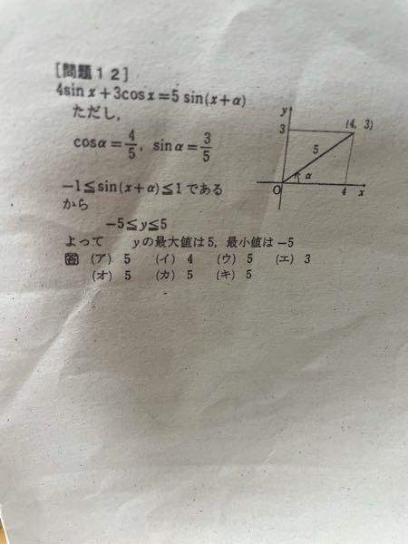 この問題の最大値が5、最小値が-5になる理由を教えて欲しいです!