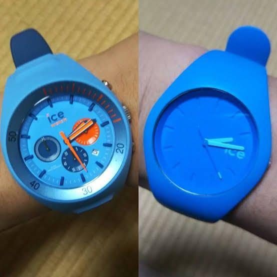 写真の右側のアイスウォッチを探しているのですが、公式サイトやメルカリを漁ってみても全く見つかりません。何かの限定商品でもうメーカー自体が生産していないのでしょうか。腕時計には全く詳しくないのでどなたか 詳しい方、商品名や色、購入方法などについて教えて頂けないでしょうかm(_ _)m