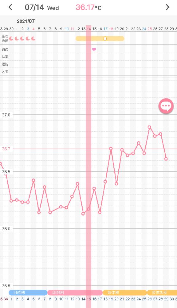 このグラフだと高温期は何日から数えたらいいか分かる方いますか? 15日に人工授精、HCG注射しました。 15日夜からデュファストンを服用しています。 今回は高温期に入った頃から下がる日が2回あっ...