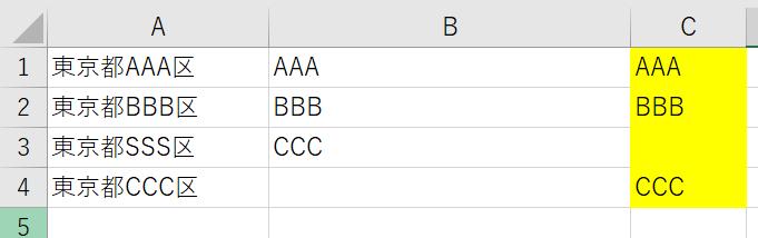 A列に、 東京都AAA区 東京都BBB区 東京都SSS区 東京都CCC区 ・・・という4行があります。 そして、 B列に、 AAA BBB CCC ・・・という3行があります。 それで、 C列に、 AAA BBB (空白) CCC ・・・という4行を表示させたいんです。 「$B$1:$B3」という指定を使って関数でうまくやりたいんですが、まったくわかりません。 何かありませんでしょうか。
