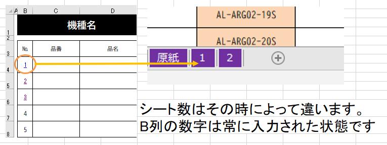 """質問失礼します。 説明が下手で申し訳ありません。 ↓はハイパーリンク設定のコードになりますが 繰り返し処理する場合のコードを教えていただきたいです。 目的としては、B4からB29に順番に1~30の番号が振ってあり それぞれのセルの数値と同じシート名のシートA1に飛ぶようにしたいです。 B列は今後増える可能性もあるので、B列に文字が無いor同じシート名が見つからない場合に終了する形にしていただけると助かります。 参考に画像も貼らせていただきます。 ※シート数はその時によって変動します やりたいことは↓の繰り返しになります。 Range(""""B4"""").Select ActiveSheet.Hyperlinks.Add Anchor:=Selection, Address:="""""""", SubAddress:= _ """"'1'!A1"""" Range(""""B5"""").Select ActiveSheet.Hyperlinks.Add Anchor:=Selection, Address:="""""""", SubAddress:= _ """"'2'!A1"""" よろしくお願いいたします。"""