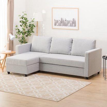 ニトリやIKEA、ネット通販等その他格安家具について詳しい方、教えてください。 ソファーベッドを探しているのですが、折り畳める形のソファーベッドで、L字方でないもの、例えるなら画像のL部分が折り...