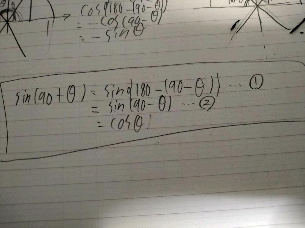 この①から②への変形が分かりません。 {180-(90-θ)}なのに(90+θ)にならないのはなぜですか。