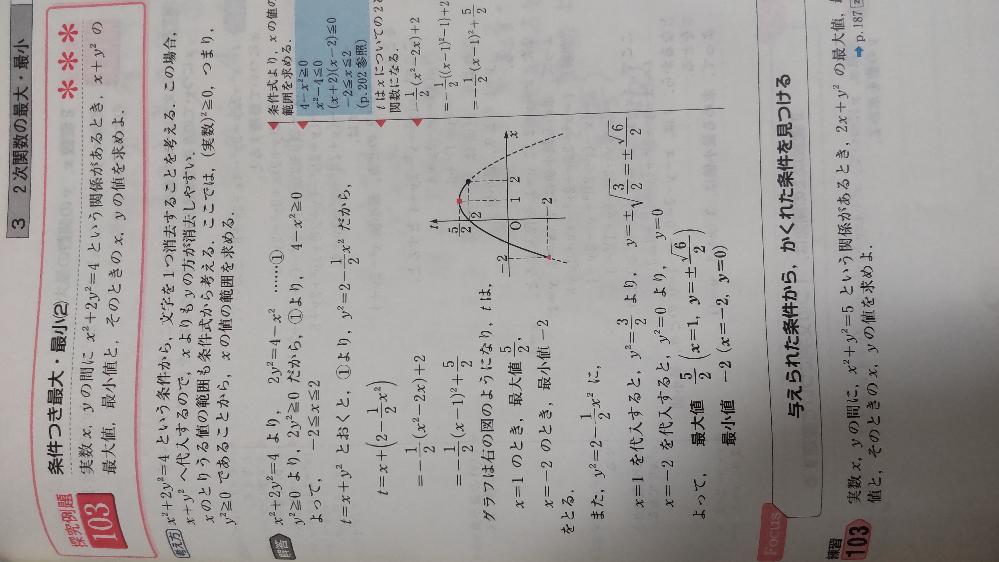 回答の上から4行目のところ、なぜ突然にt=x+y²が出てくるのですか?