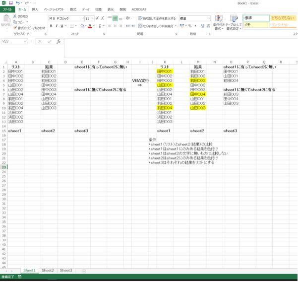 VBAマスターの方のお力をお借りしたいです。 条件1が比較 リスト(sheet1)と結果(sheet2)を比較し結果を(sheet3へ)取得したい。 結果の文字に該当しないものは比較しない。結果に反映されない。 条件2が色付け リストにあって結果に無いものをsheet1で色付け 結果にあってリストに無いものをsheet2で色付け 結果の文字に該当しないものはリストで色付けしない どのサイトみても上手くいかず心の折れる音がしました。 どうか助けていただきたいです よろしくお願いします。