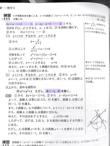 数学2 図形と方程式: 軌跡 画像の問題における、除外点を考えます。 y=0 を ② に代入すると、確かに x=-1 になります。 しかし、y=0 を ① に代入すると、x=1 となります。 これはなぜでしょうか? ① では、y に係数 k がついているからいけないのですか?