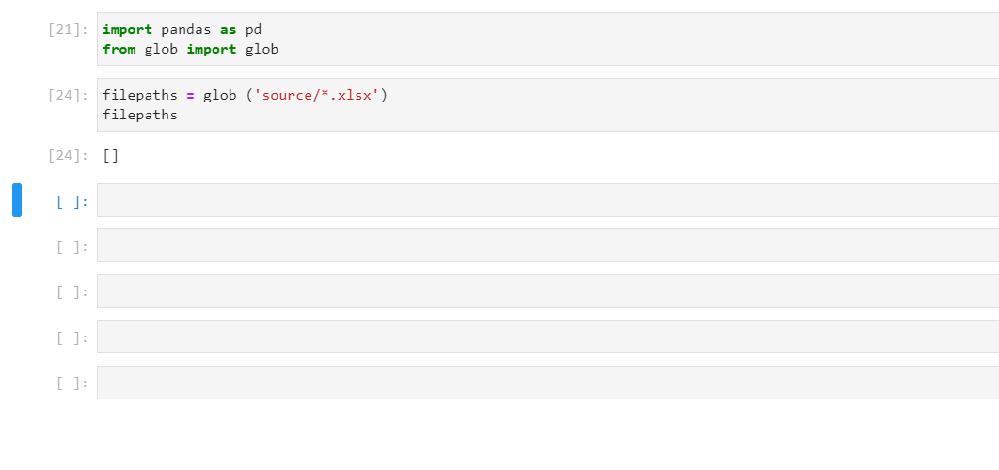 Pythonについて教えてください。 下記写真のようにExcelの中身を見るコードを書いているのですが実行しても[24]のように何も出力されません。 コードに何か問題ありますでしょうか。 sourceというフォルダを作成して中にExcelデータは3つ入れてあります。