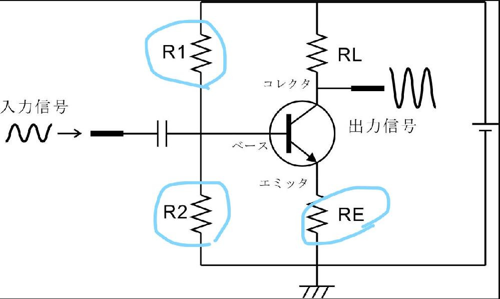 トランジスタの電流帰還バイアス回路について、図のR1,R2,REの抵抗がどういった働きをしてそこに置かれているのかが良く分かりません。ご存じの方がいましたら教えてください。