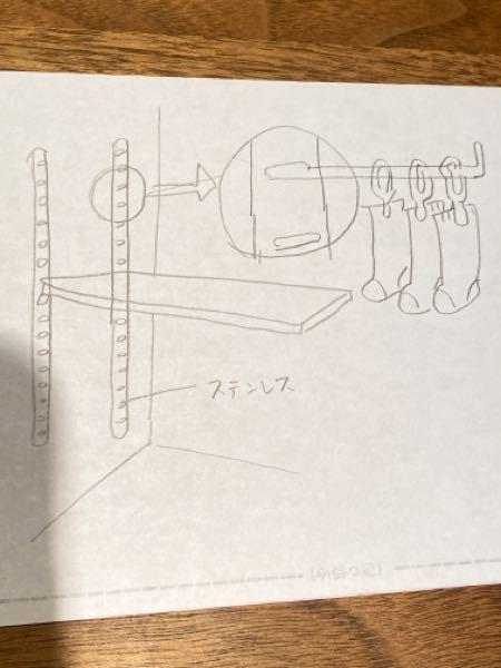 画像のような、ステンレスの棚受をつけるグッズが壁に設置してあるのですが、そこに靴下を下げられるよう、垂直に棒を付けたいです。棚受けはVの字の金具しかないです。どうしたら靴下5足程度の重みに耐えながら水平 を保つように付けられるでしょうか?アイデアをいただけましたら幸いです。