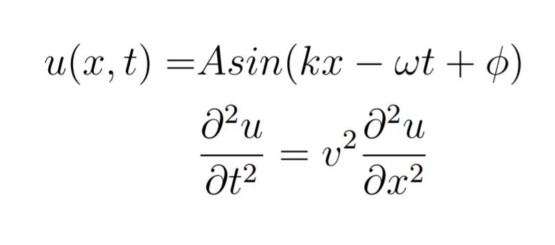 写真のような波動方程式と正弦波があり、どの条件を満たすのかを答える問題です。この関数の偏微分のところを詳しくして解いていただけないでしょうか? 選択肢は1,ω=v/k 2,ω=v^2/k^2 3,ω=vk 4,ω=v^2k^2です 答えは3です。 自分が偏微分をしたところ0=v^2・0になってしまいました。